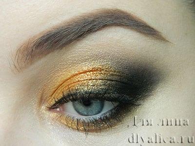 Золотисто-черный макияж