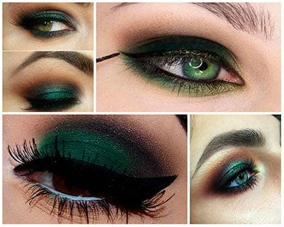 Темно-зеленый макияж