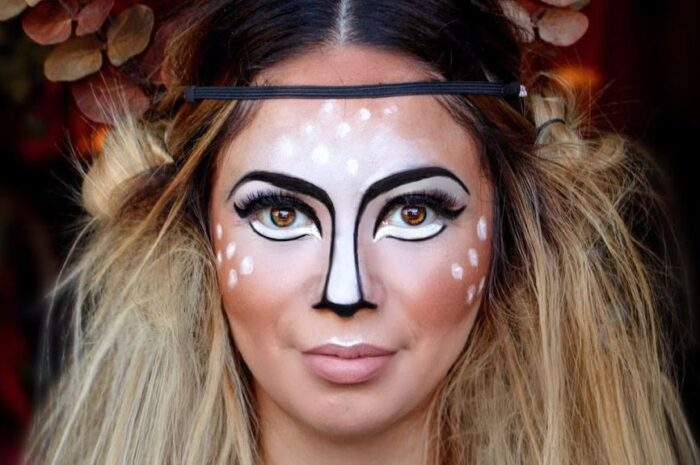 Грим оленя на Новый Год или Хэллоуин. Мастер класс-по макияжу олененка с фото