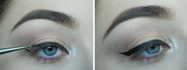 Прорисовываем стрелки от внутреннего уголка глаз