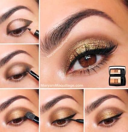 золотисто-коричневый макияж