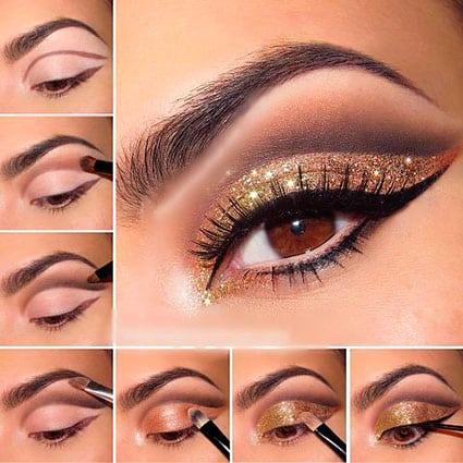 коричнево-золотой макияж